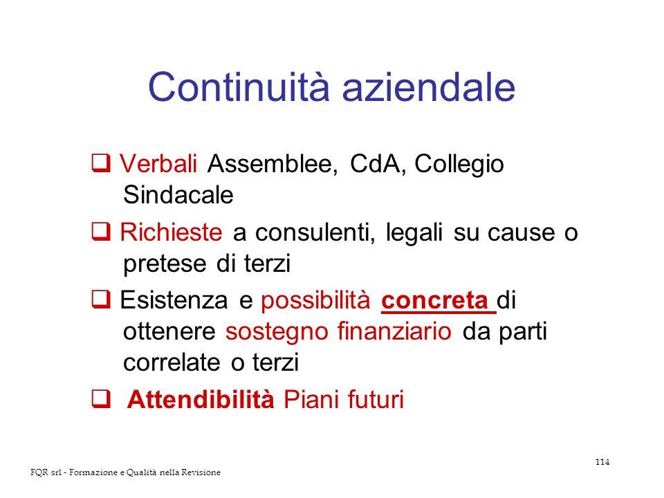 Continuità aziendale Verbali Assemblee, CdA, Collegio Sindacale