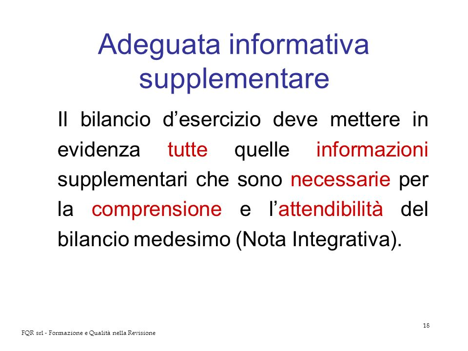 Adeguata informativa supplementare