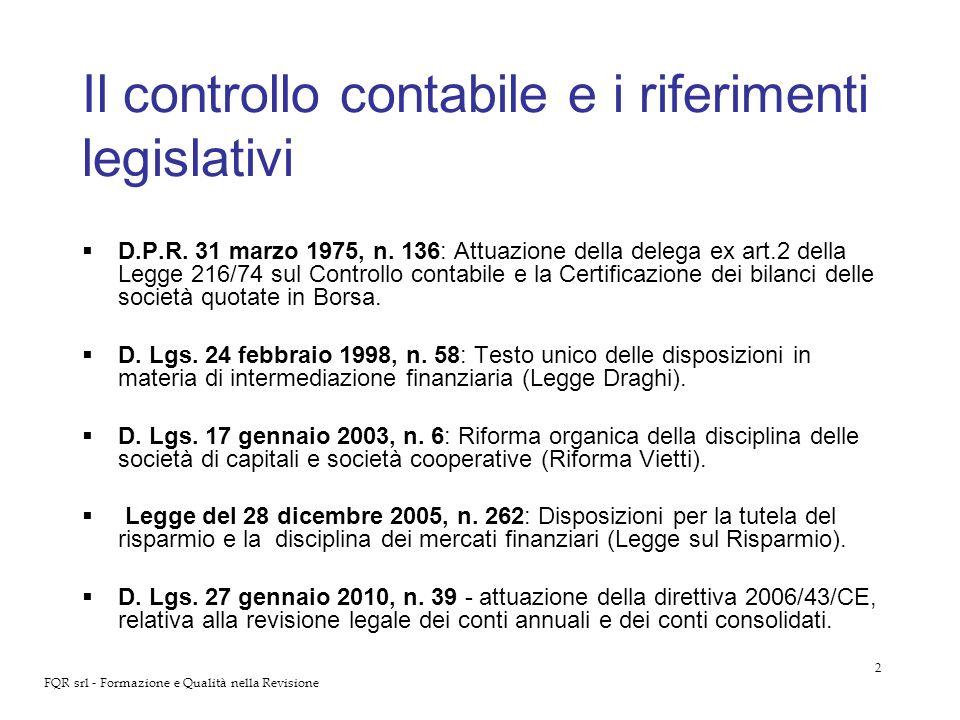 Il controllo contabile e i riferimenti legislativi
