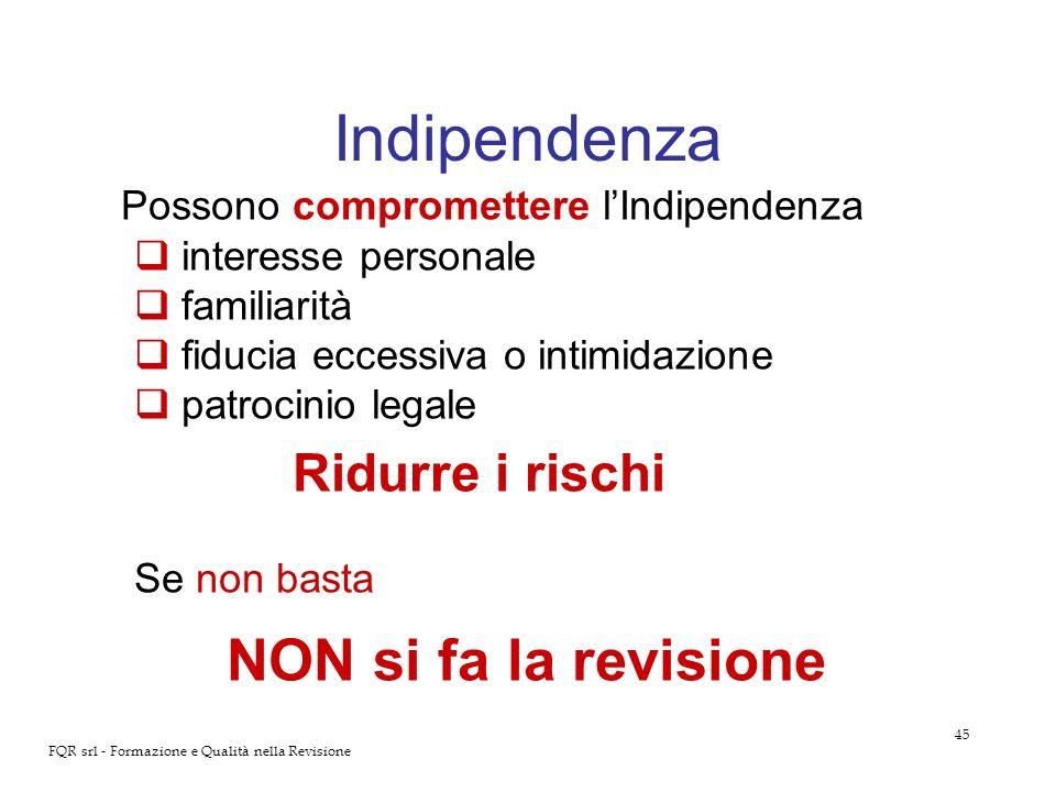 Indipendenza Possono compromettere l'Indipendenza