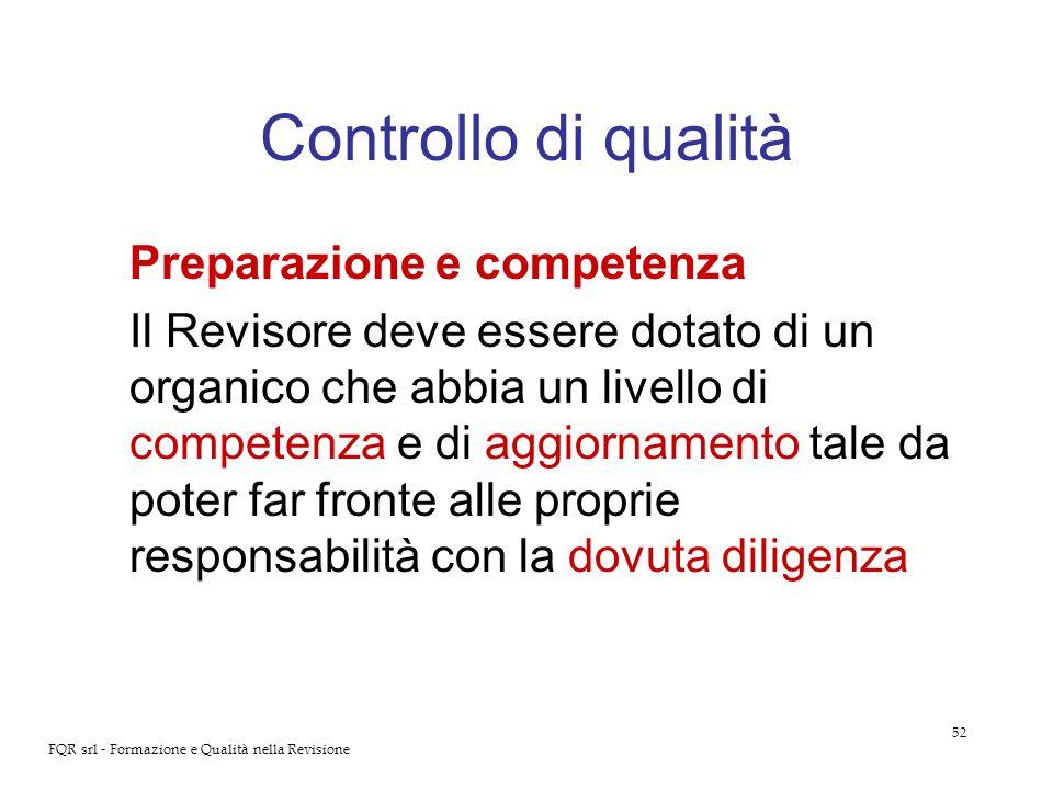 Controllo di qualità Preparazione e competenza
