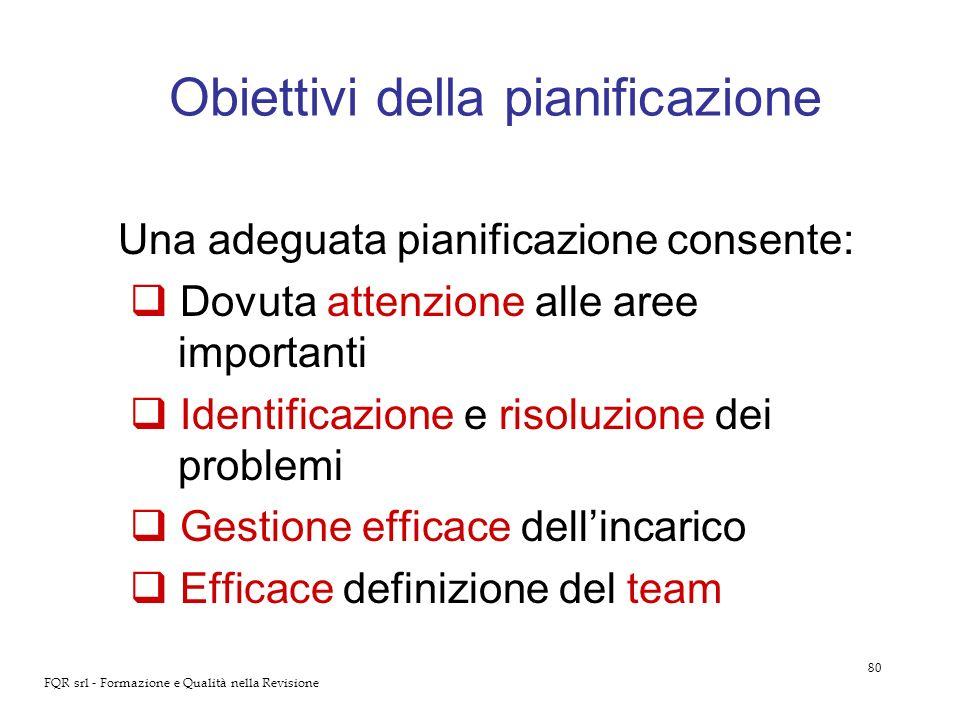 Obiettivi della pianificazione