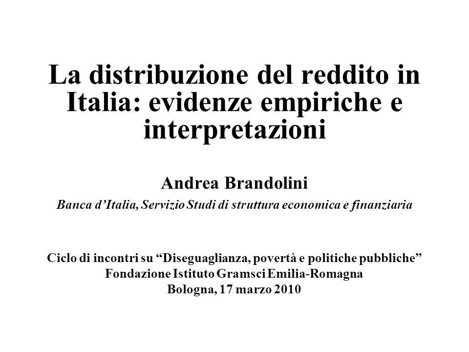 La distribuzione del reddito in Italia: evidenze empiriche e interpretazioni