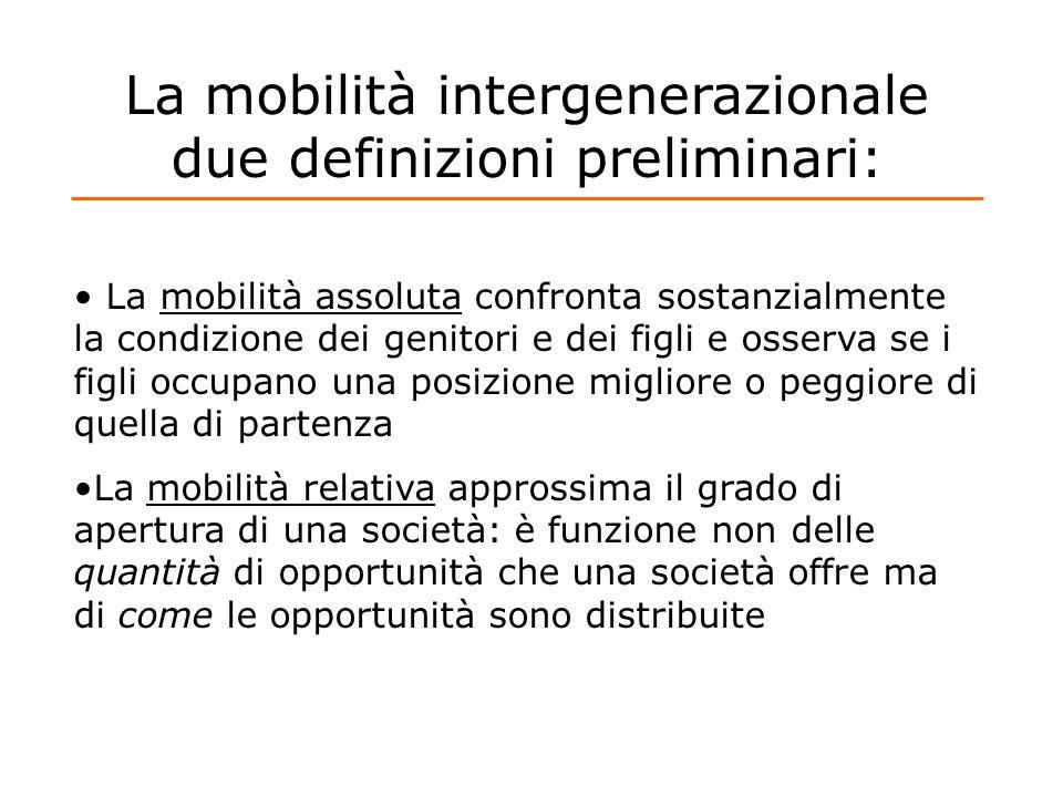 La mobilità intergenerazionale due definizioni preliminari: