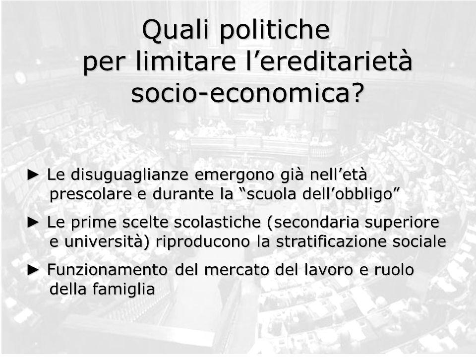Quali politiche per limitare l'ereditarietà socio-economica