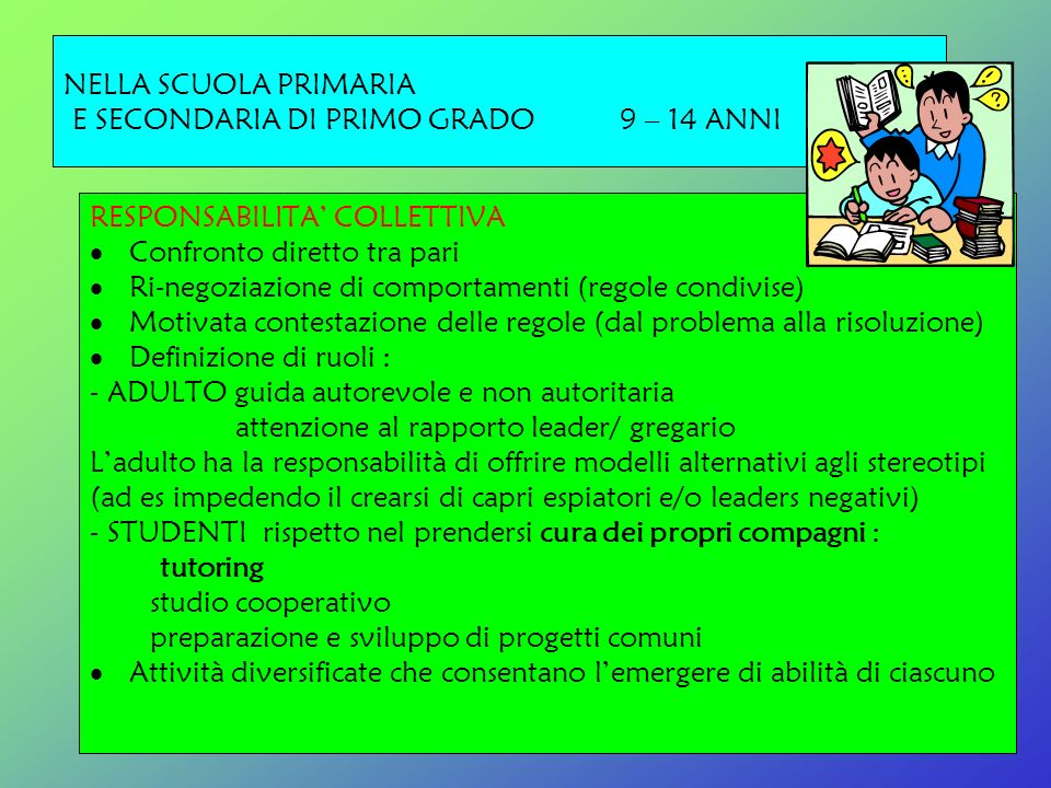 NELLA SCUOLA PRIMARIA E SECONDARIA DI PRIMO GRADO 9 – 14 ANNI