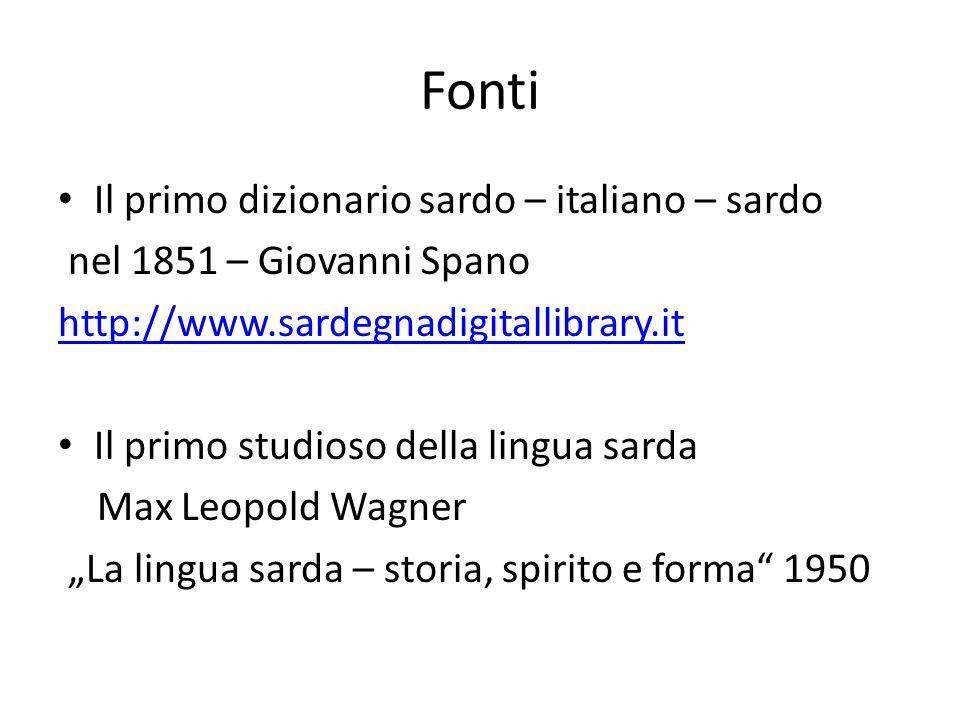 Fonti Il primo dizionario sardo – italiano – sardo