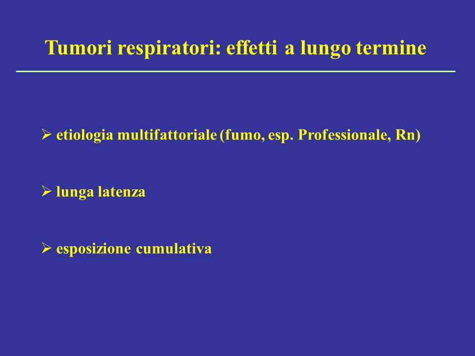 Tumori respiratori: effetti a lungo termine