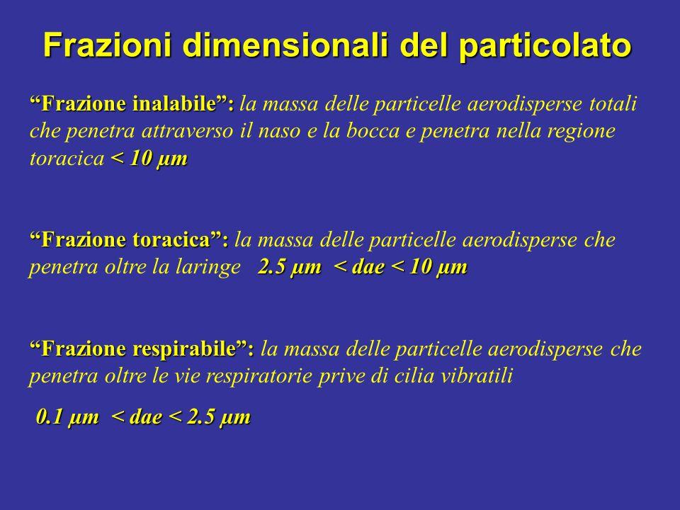 Frazioni dimensionali del particolato