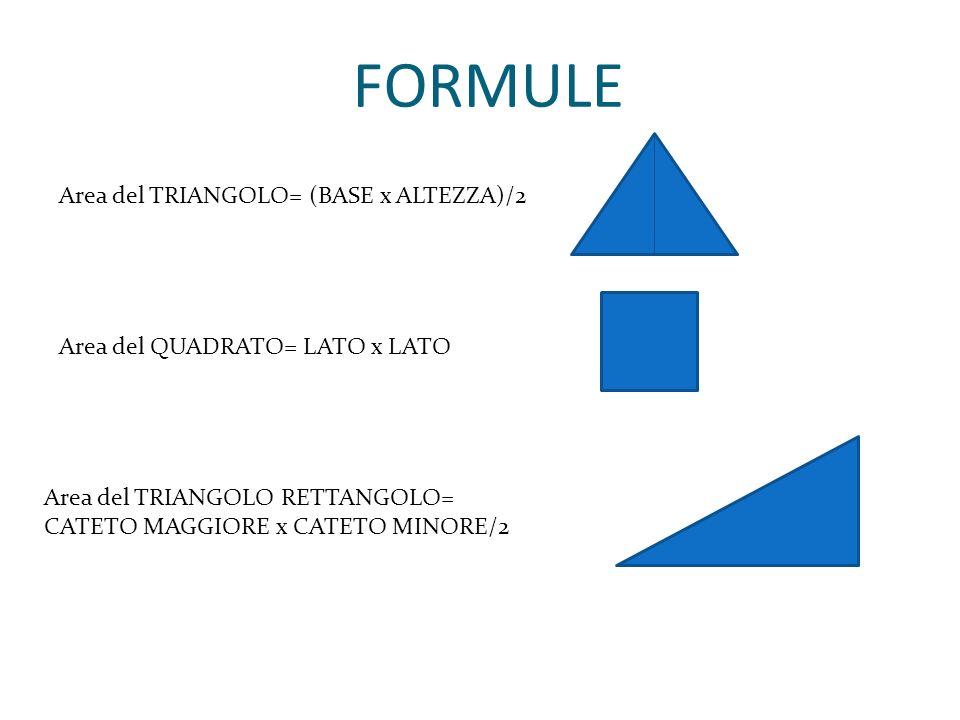 FORMULE Area del TRIANGOLO= (BASE x ALTEZZA)/2