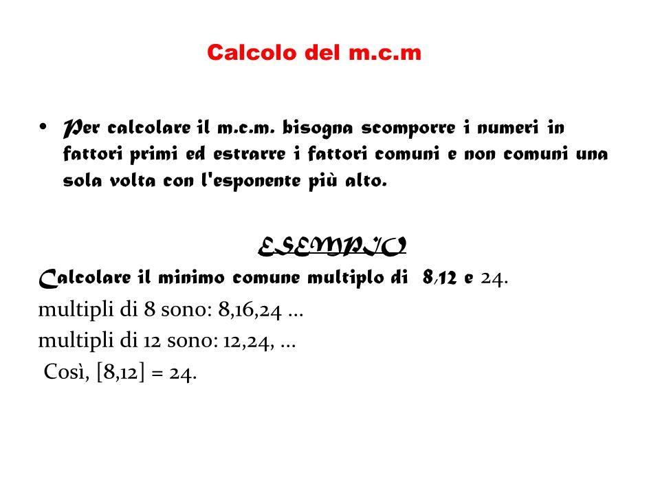 Calcolo del m.c.m