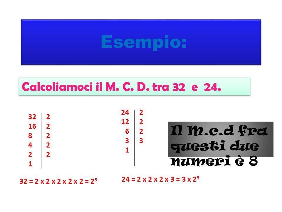 Esempio: Calcoliamoci il M. C. D. tra 32 e 24.