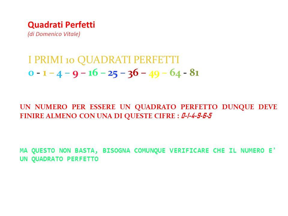 Quadrati Perfetti (di Domenico Vitale)