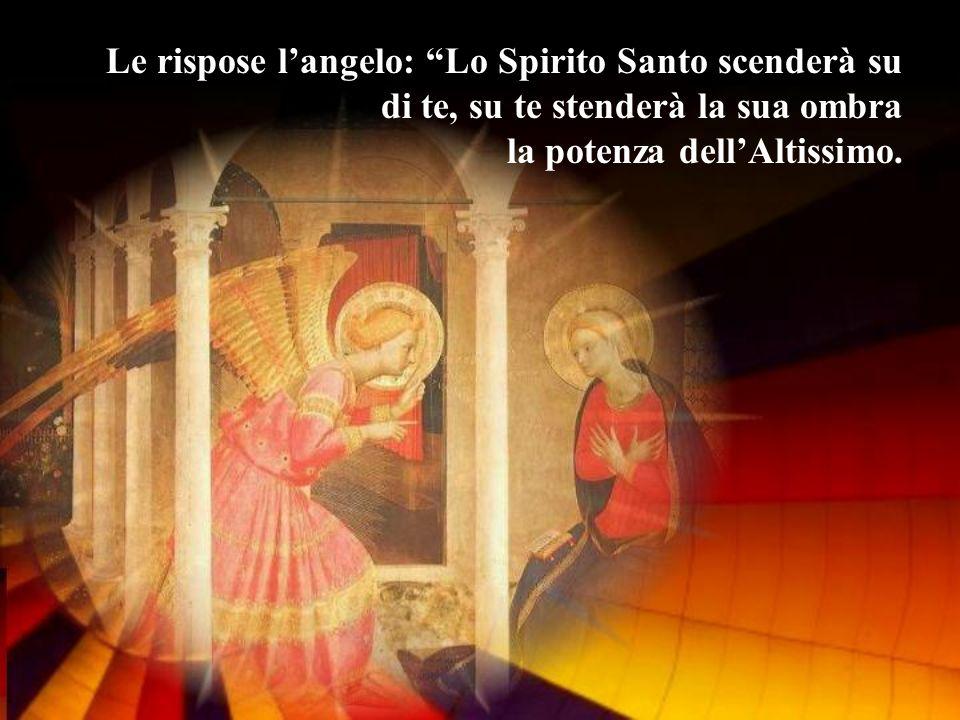 Le rispose l'angelo: Lo Spirito Santo scenderà su di te, su te stenderà la sua ombra la potenza dell'Altissimo.