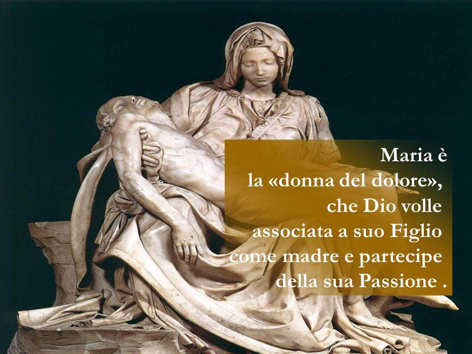 Maria è la «donna del dolore», che Dio volle. associata a suo Figlio.