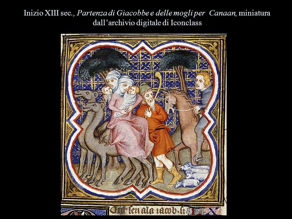 Inizio XIII sec., Partenza di Giacobbe e delle mogli per Canaan, miniatura dall'archivio digitale di Iconclass