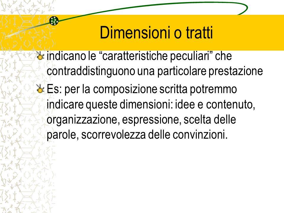 Dimensioni o tratti indicano le caratteristiche peculiari che contraddistinguono una particolare prestazione.