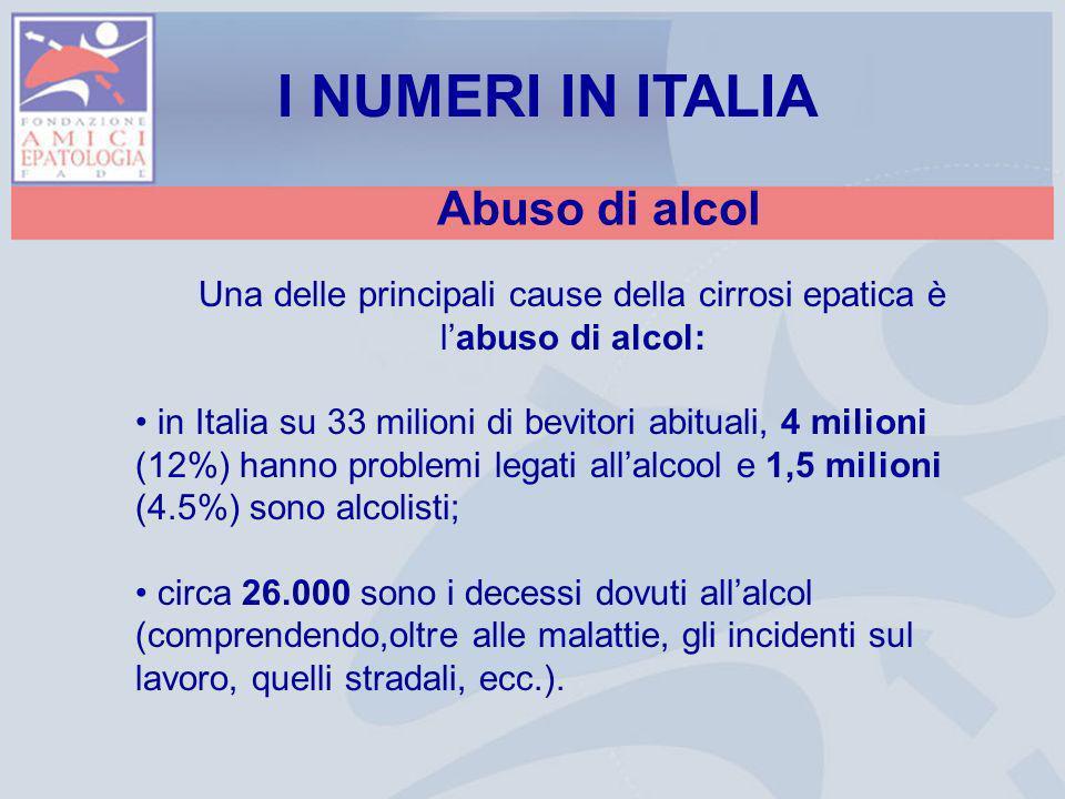 Una delle principali cause della cirrosi epatica è l'abuso di alcol: