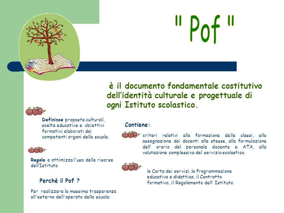 Pof è il documento fondamentale costitutivo dell'identità culturale e progettuale di ogni Istituto scolastico.