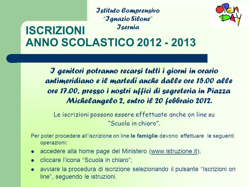 ISCRIZIONI ANNO SCOLASTICO 2012 - 2013