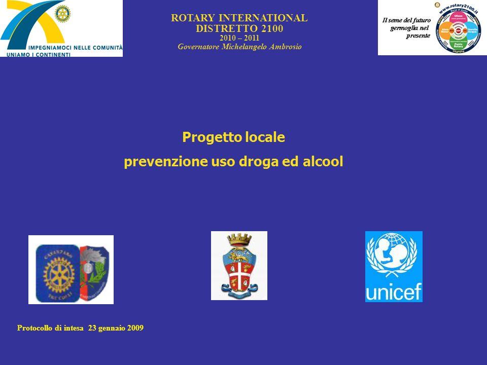 Governatore Michelangelo Ambrosio prevenzione uso droga ed alcool