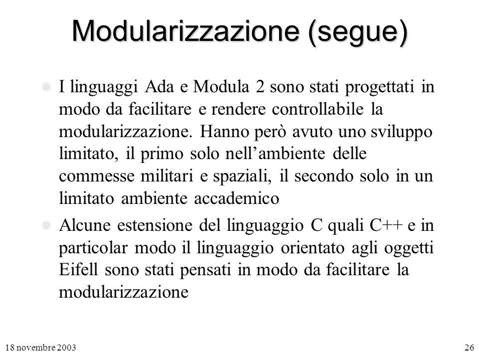 Modularizzazione (segue)