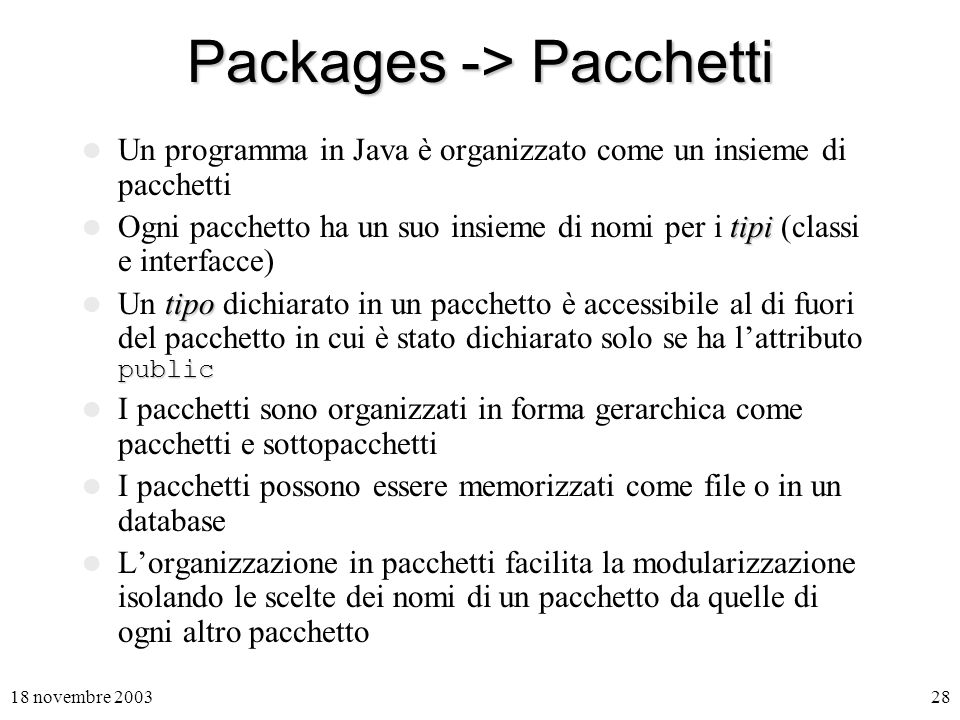 Packages -> Pacchetti