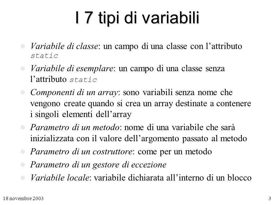 I 7 tipi di variabili Variabile di classe: un campo di una classe con l'attributo static.