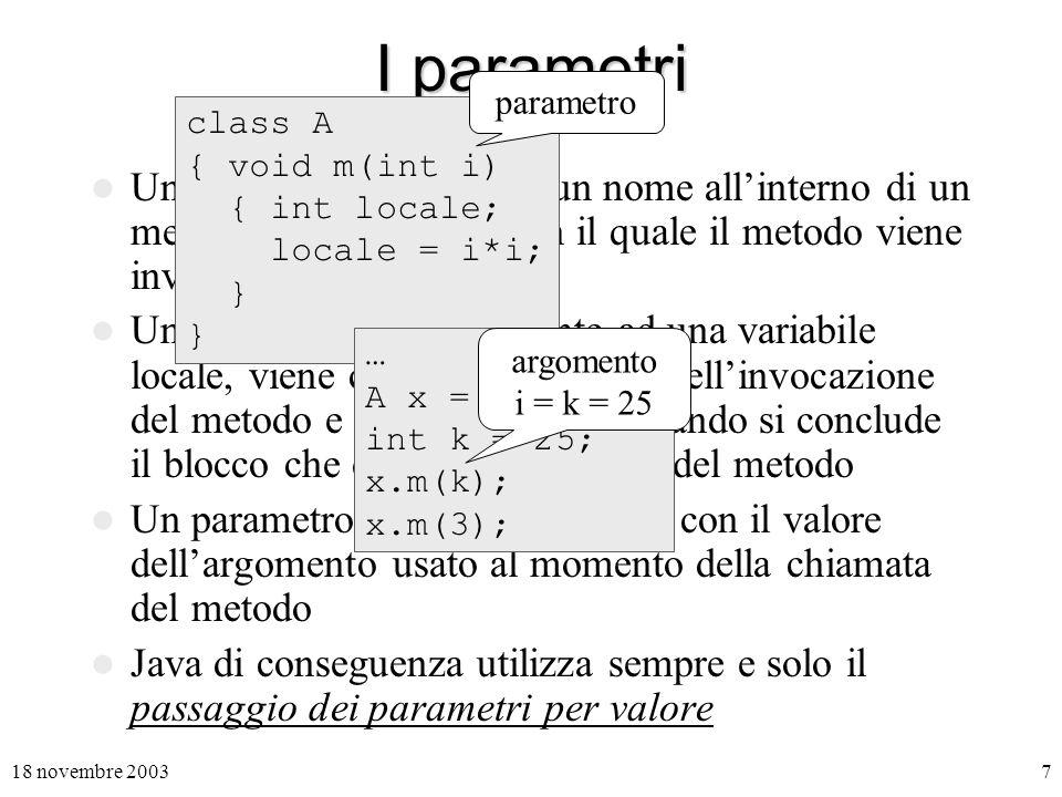 I parametri parametro. class A. { void m(int i) { int locale; locale = i*i; }