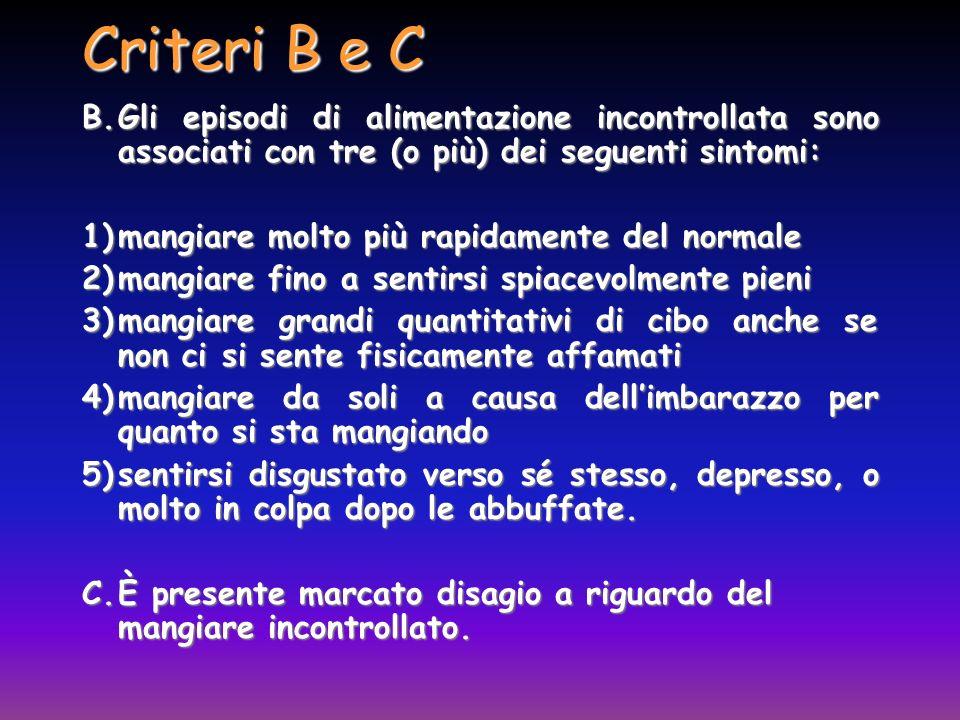 Criteri B e C B. Gli episodi di alimentazione incontrollata sono associati con tre (o più) dei seguenti sintomi: