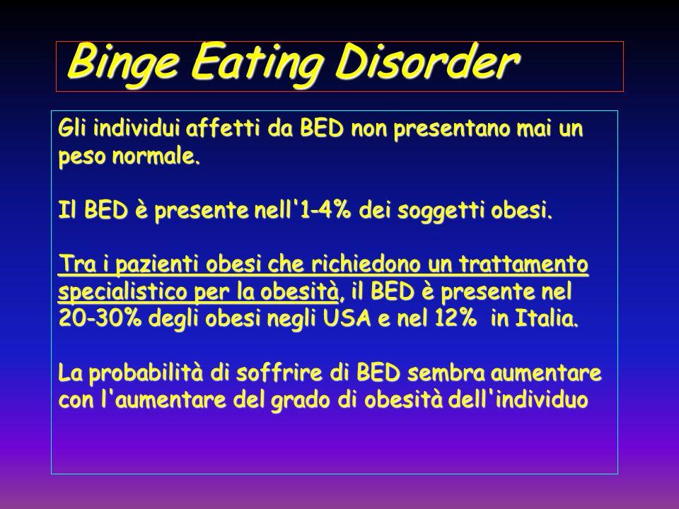 Binge Eating Disorder Gli individui affetti da BED non presentano mai un peso normale. Il BED è presente nell 1-4% dei soggetti obesi.