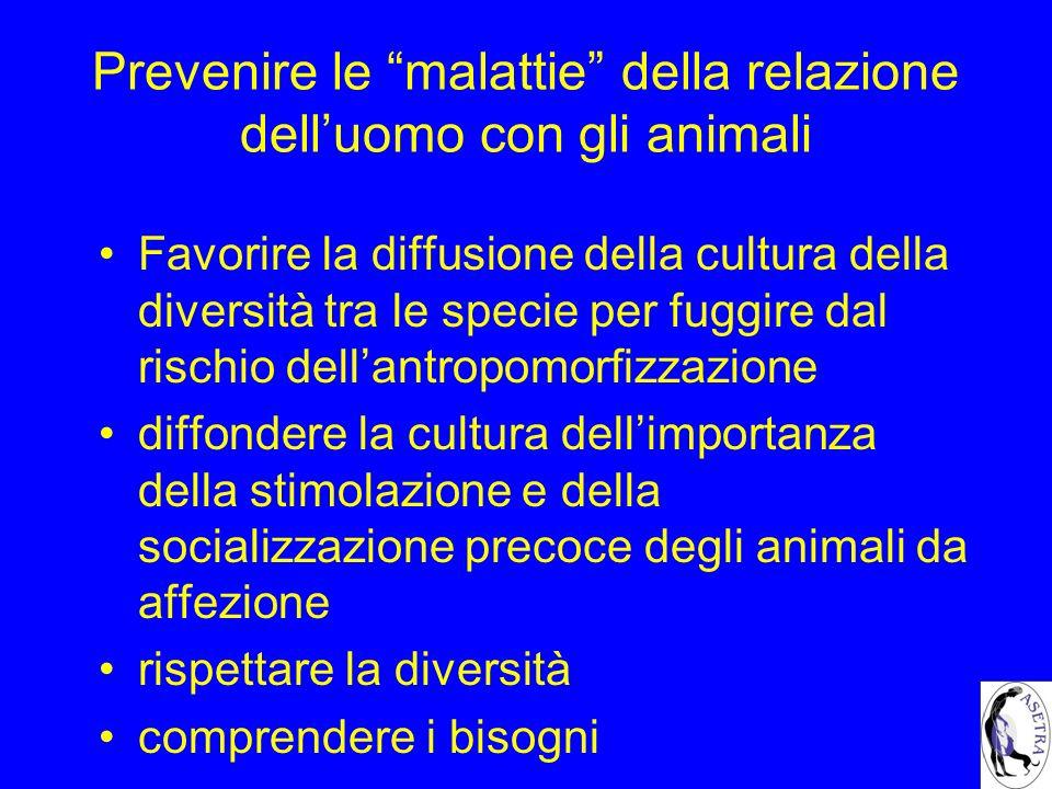 Prevenire le malattie della relazione dell'uomo con gli animali