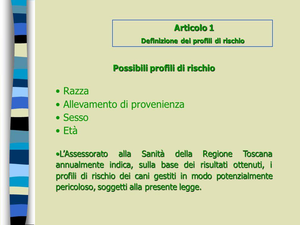 Definizione dei profili di rischio Possibili profili di rischio