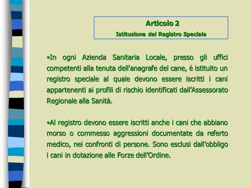 Istituzione del Registro Speciale