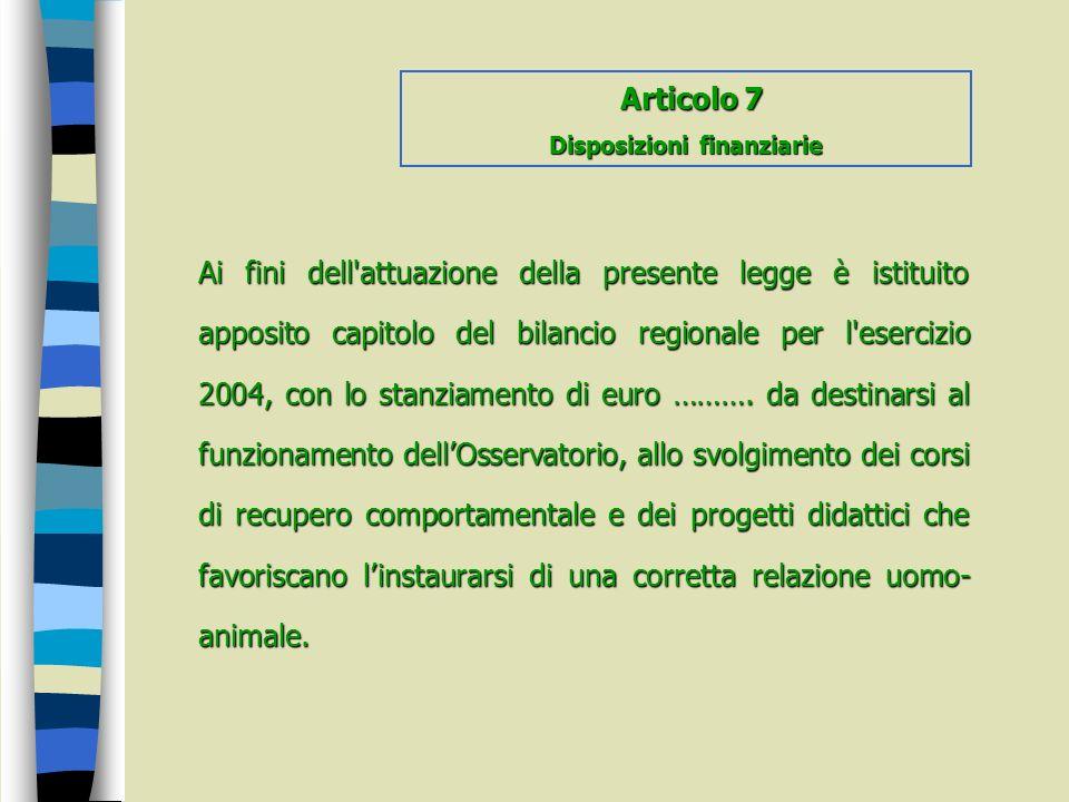Disposizioni finanziarie