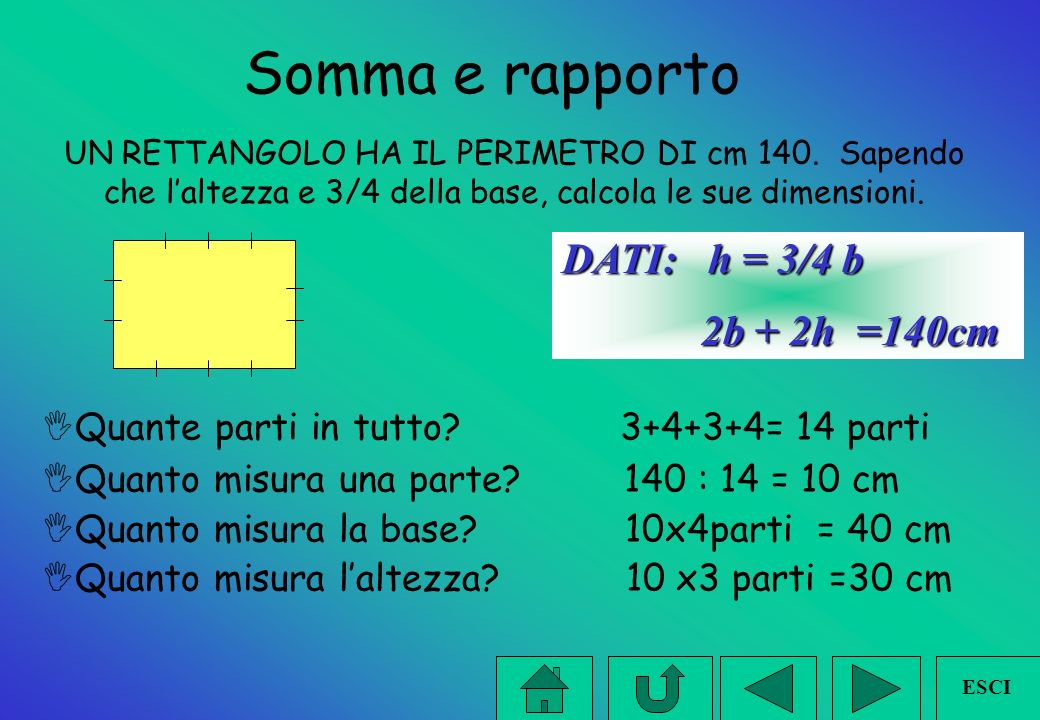 Somma e rapporto DATI: h = 3/4 b 2b + 2h =140cm