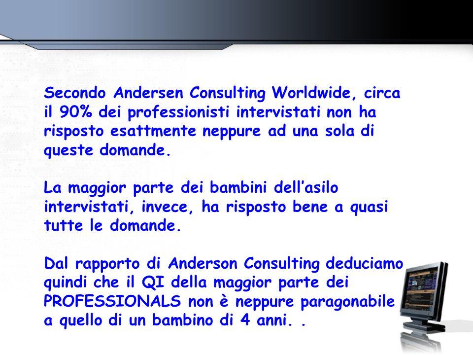 Secondo Andersen Consulting Worldwide, circa il 90% dei professionisti intervistati non ha risposto esattmente neppure ad una sola di queste domande.