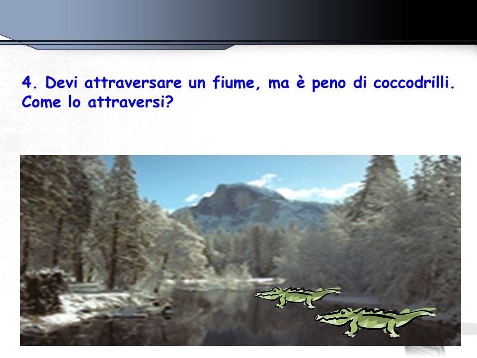 4. Devi attraversare un fiume, ma è peno di coccodrilli.