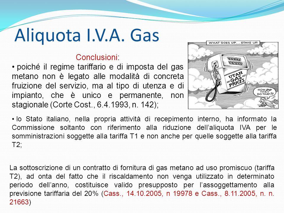 Aliquota I.V.A. Gas Conclusioni: