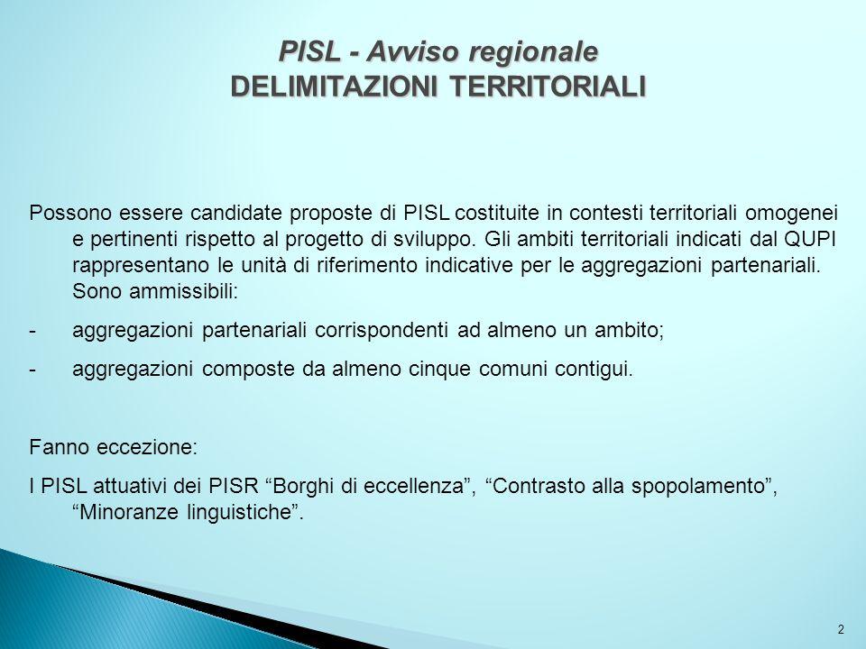 PISL - Avviso regionale DELIMITAZIONI TERRITORIALI