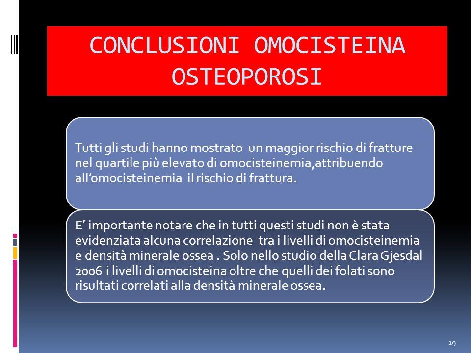 CONCLUSIONI OMOCISTEINA OSTEOPOROSI