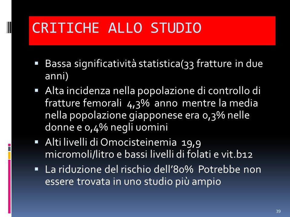 CRITICHE ALLO STUDIO Bassa significatività statistica(33 fratture in due anni)