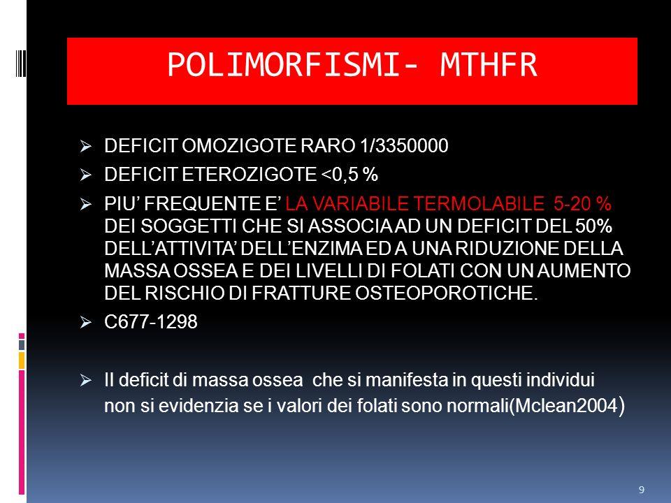 POLIMORFISMI- MTHFR DEFICIT OMOZIGOTE RARO 1/3350000