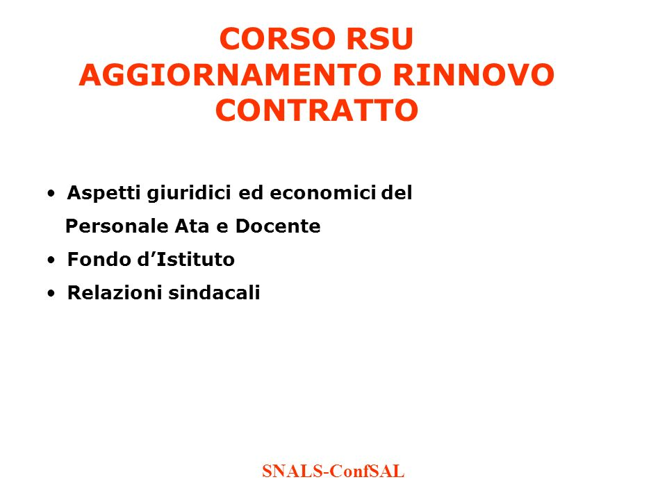 CORSO RSU AGGIORNAMENTO RINNOVO CONTRATTO