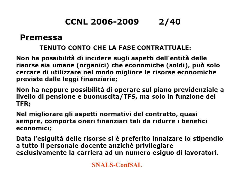 CCNL 2006-2009 2/40 Premessa SNALS-ConfSAL