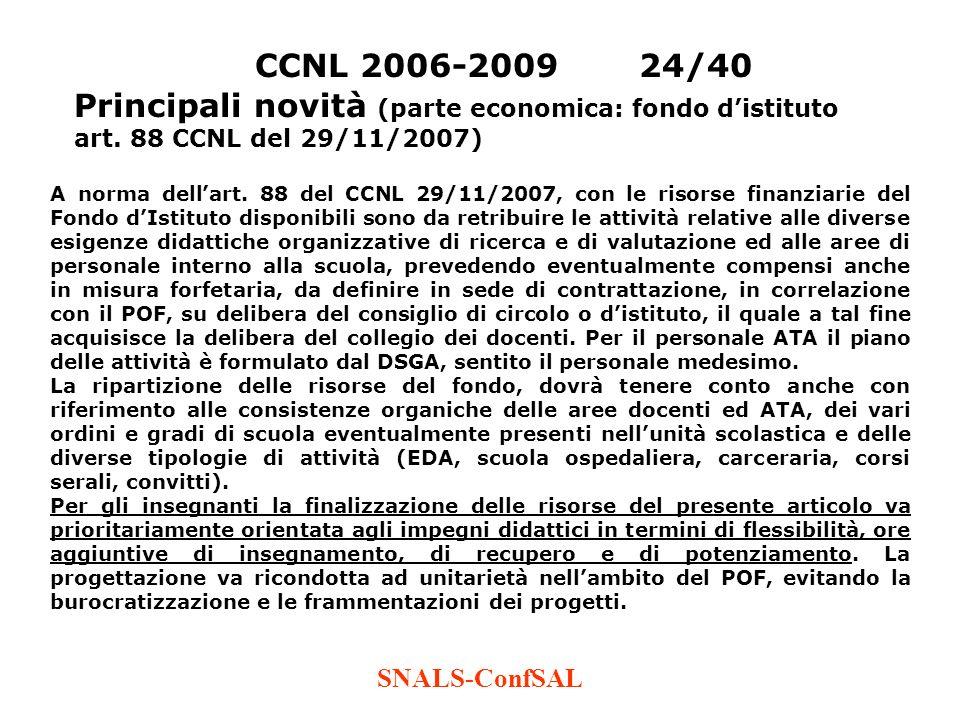 CCNL 2006-2009 24/40 Principali novità (parte economica: fondo d'istituto art. 88 CCNL del 29/11/2007)