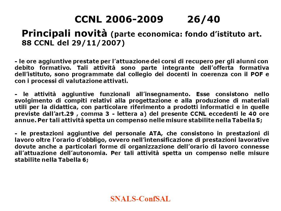 CCNL 2006-2009 26/40 Principali novità (parte economica: fondo d'istituto art. 88 CCNL del 29/11/2007)