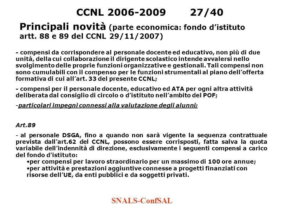 CCNL 2006-2009 27/40 Principali novità (parte economica: fondo d'istituto artt. 88 e 89 del CCNL 29/11/2007)