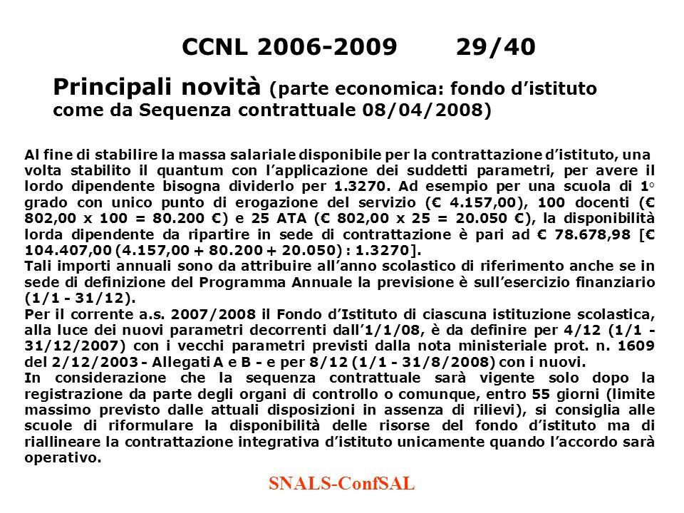 CCNL 2006-2009 29/40 Principali novità (parte economica: fondo d'istituto come da Sequenza contrattuale 08/04/2008)