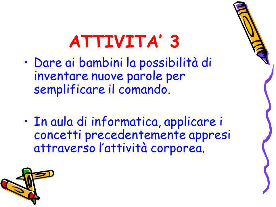 ATTIVITA' 3 Dare ai bambini la possibilità di inventare nuove parole per semplificare il comando.